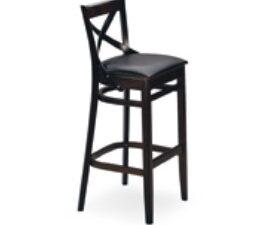 Sgabello con schienale a croce ideale per arredo pub, arredo bar, arredo casa, tinte standards in ecopelle nero